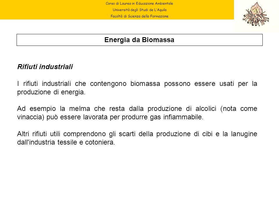 Corso di Laurea in Educazione Ambientale Università degli Studi de LAquila Facoltà di Scienza della Formazione Energia da Biomassa Rifiuti industriali