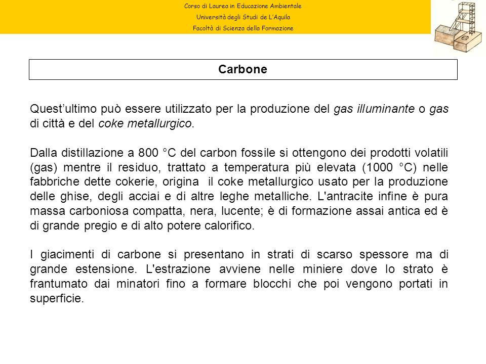 Corso di Laurea in Educazione Ambientale Università degli Studi de LAquila Facoltà di Scienza della Formazione Carbone Questultimo può essere utilizza