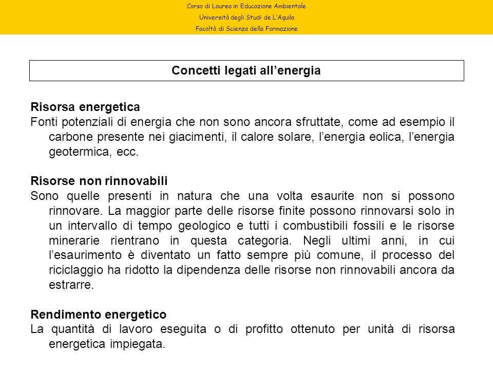 Corso di Laurea in Educazione Ambientale Università degli Studi de LAquila Facoltà di Scienza della Formazione Concetti legati allenergia Risorsa ener