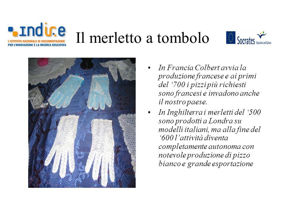 Il merletto a tombolo In Francia Colbert avvia la produzione francese e ai primi del 700 i pizzi più richiesti sono francesi e invadono anche il nostr