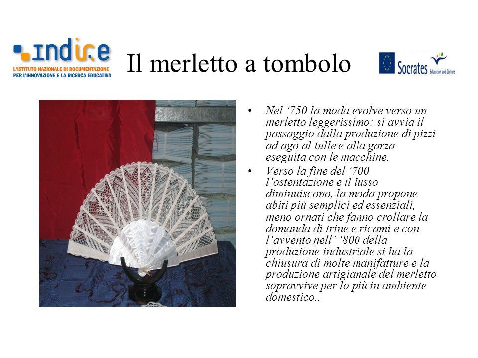 Il merletto a tombolo Nel 750 la moda evolve verso un merletto leggerissimo: si avvia il passaggio dalla produzione di pizzi ad ago al tulle e alla ga