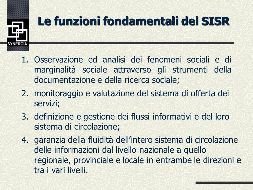 Finalità e configurazione del SISR Il SISR si configura come un Sistema informativo darea strategico, finalizzato alla programmazione regionale e locale e alla gestione dei processi di monitoring dei servizi sociali (efficienza, efficacia, equità)