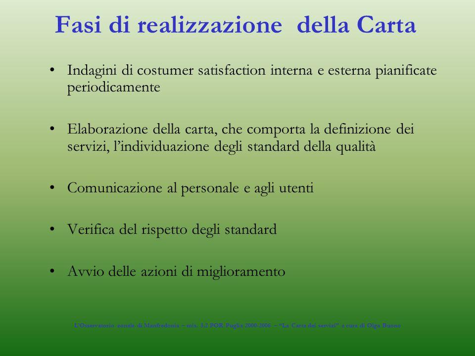 Fasi di realizzazione della Carta Indagini di costumer satisfaction interna e esterna pianificate periodicamente Elaborazione della carta, che comport