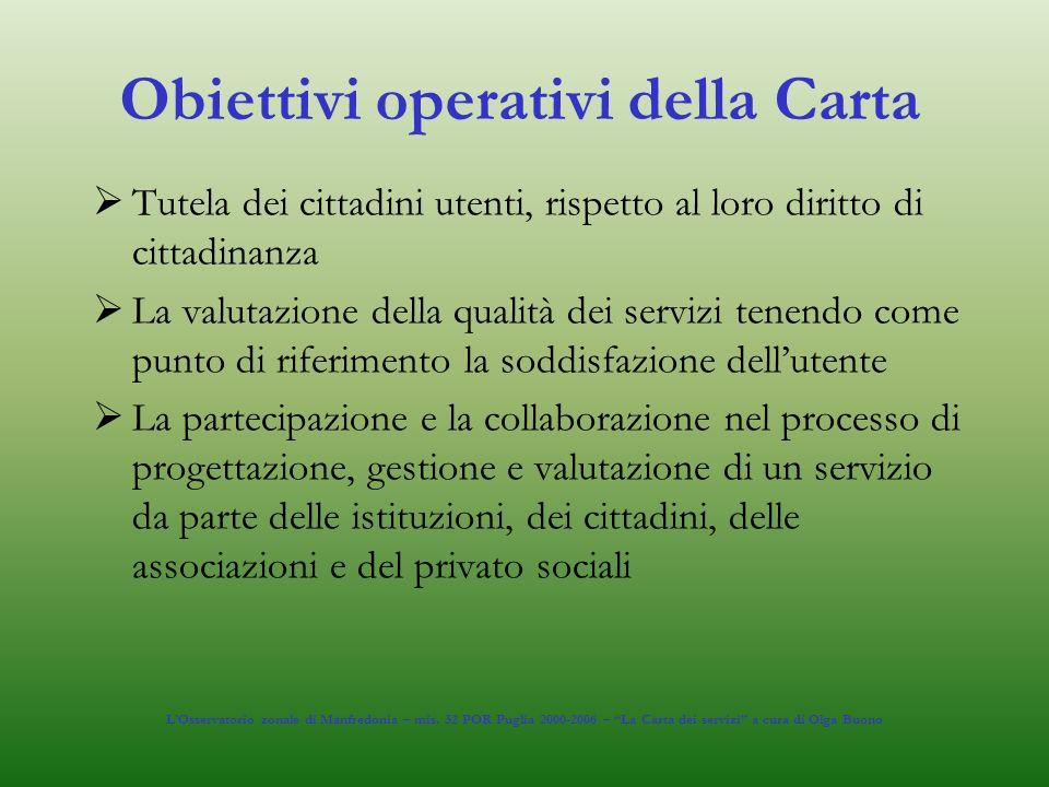 Obiettivi operativi della Carta Tutela dei cittadini utenti, rispetto al loro diritto di cittadinanza La valutazione della qualità dei servizi tenendo