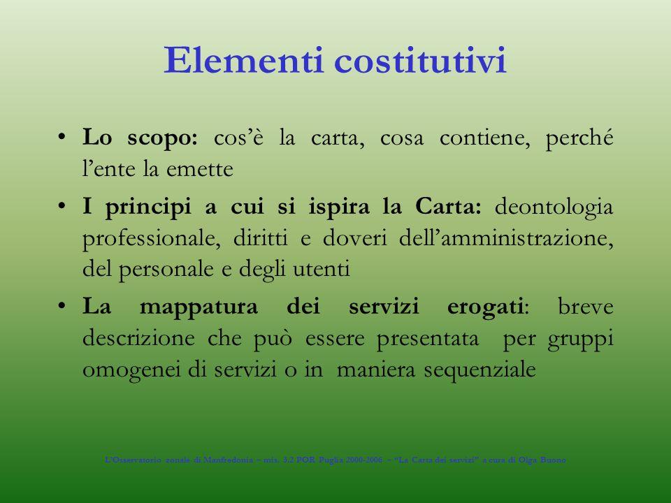 Elementi costitutivi Lo scopo: cosè la carta, cosa contiene, perché lente la emette I principi a cui si ispira la Carta: deontologia professionale, di