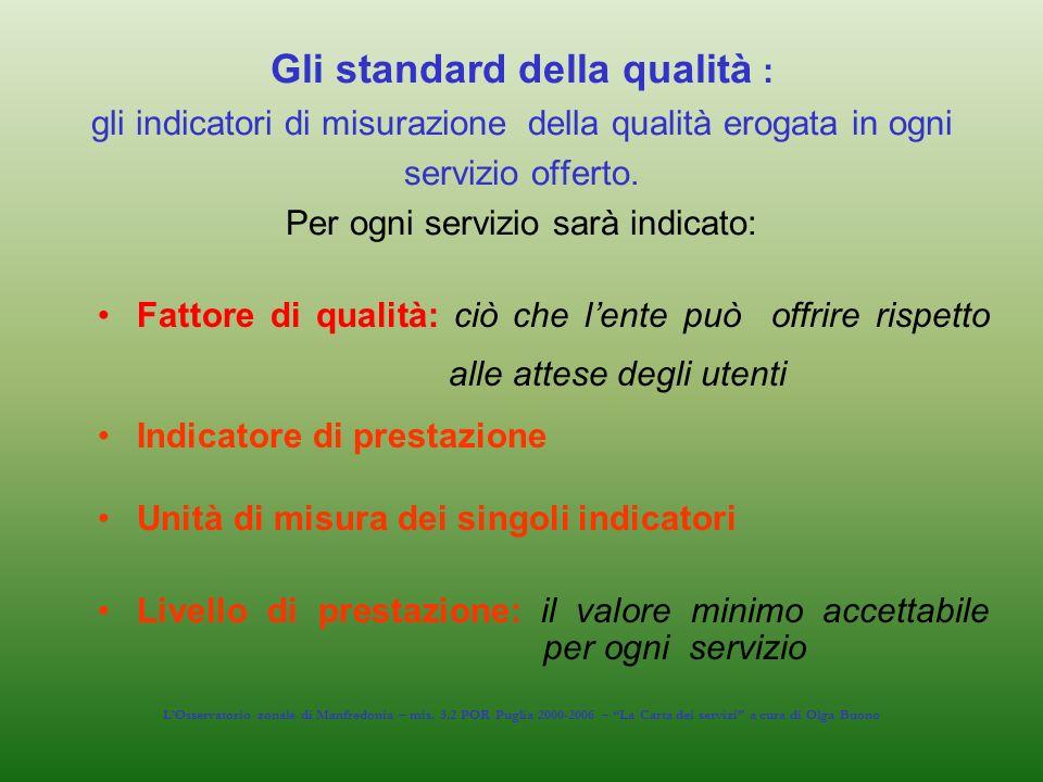 Gli standard della qualità : gli indicatori di misurazione della qualità erogata in ogni servizio offerto. Per ogni servizio sarà indicato: Fattore di