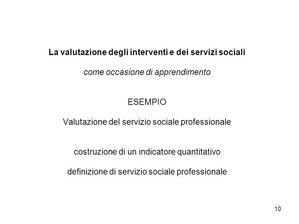 10 La valutazione degli interventi e dei servizi sociali come occasione di apprendimento ESEMPIO Valutazione del servizio sociale professionale costru