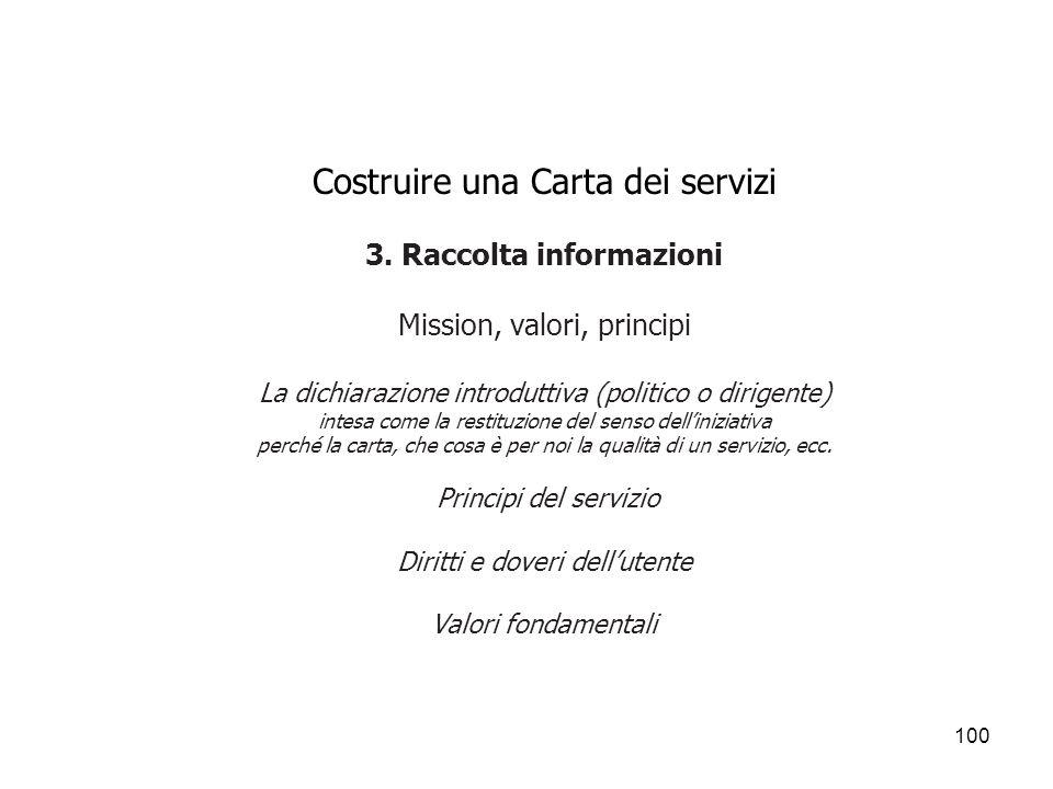 100 Costruire una Carta dei servizi 3. Raccolta informazioni Mission, valori, principi La dichiarazione introduttiva (politico o dirigente) intesa com
