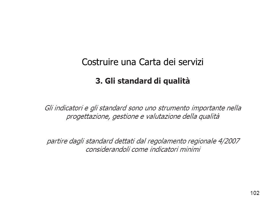 102 Costruire una Carta dei servizi 3. Gli standard di qualità Gli indicatori e gli standard sono uno strumento importante nella progettazione, gestio