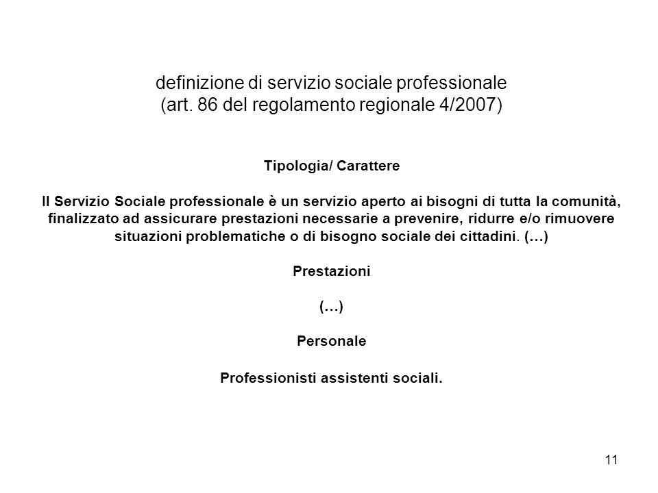 11 definizione di servizio sociale professionale (art. 86 del regolamento regionale 4/2007) Tipologia/ Carattere Il Servizio Sociale professionale è u