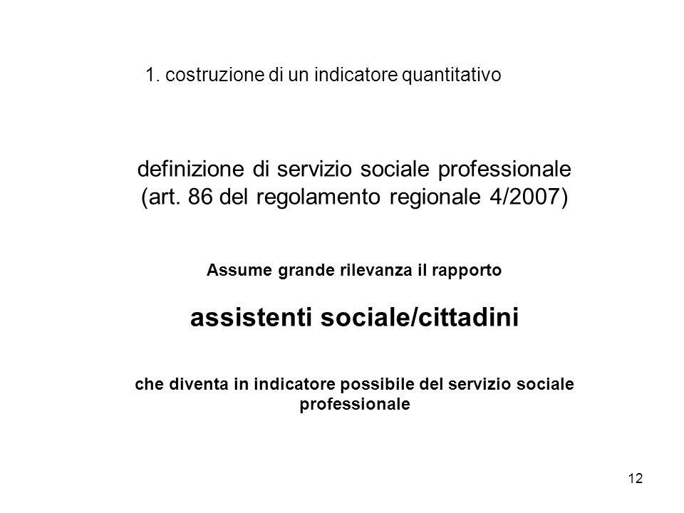 12 1. costruzione di un indicatore quantitativo definizione di servizio sociale professionale (art. 86 del regolamento regionale 4/2007) Assume grande