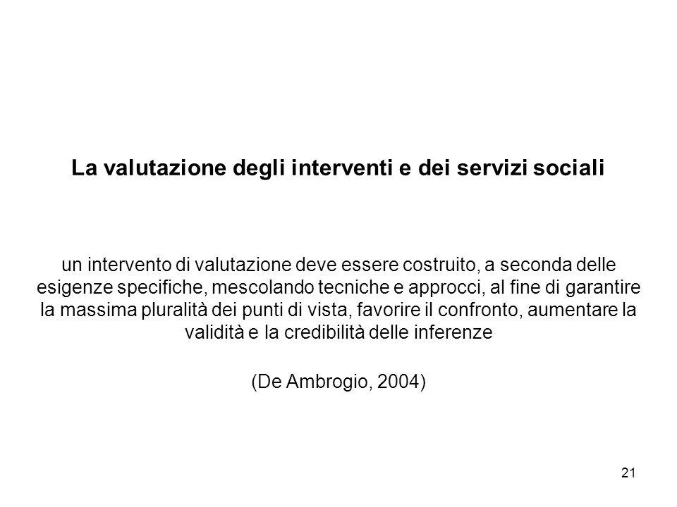 21 La valutazione degli interventi e dei servizi sociali un intervento di valutazione deve essere costruito, a seconda delle esigenze specifiche, mesc