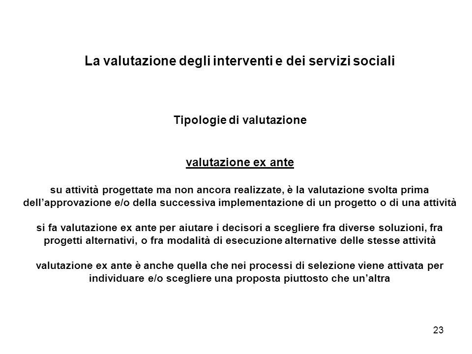 23 La valutazione degli interventi e dei servizi sociali Tipologie di valutazione valutazione ex ante su attività progettate ma non ancora realizzate,