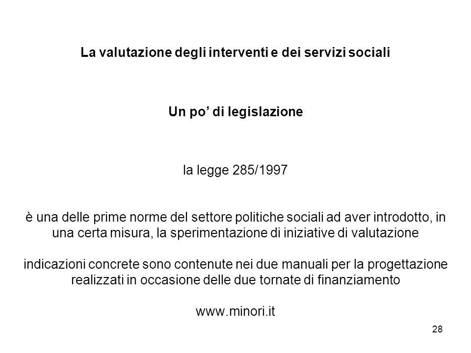 28 La valutazione degli interventi e dei servizi sociali Un po di legislazione la legge 285/1997 è una delle prime norme del settore politiche sociali