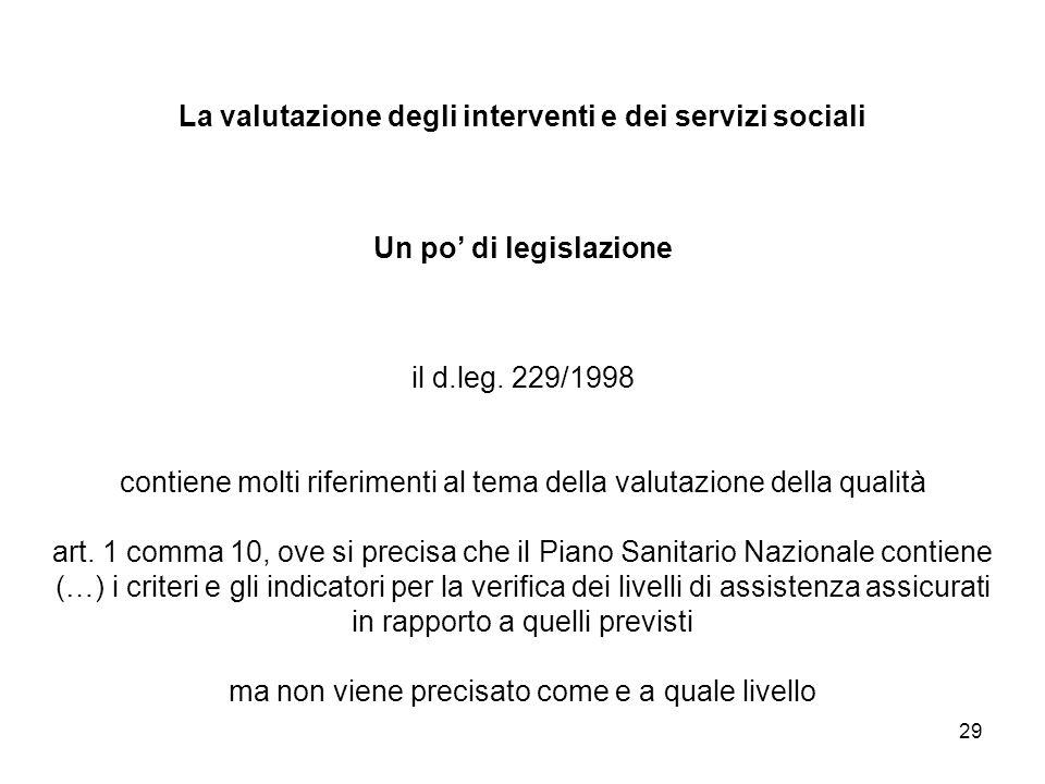 29 La valutazione degli interventi e dei servizi sociali Un po di legislazione il d.leg. 229/1998 contiene molti riferimenti al tema della valutazione
