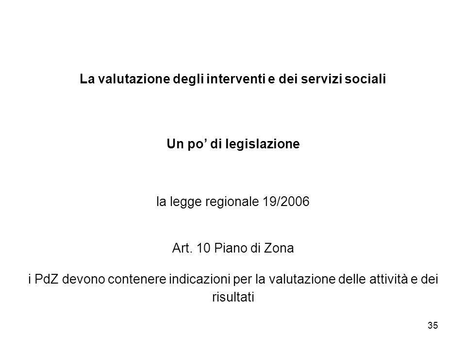 35 La valutazione degli interventi e dei servizi sociali Un po di legislazione la legge regionale 19/2006 Art. 10 Piano di Zona i PdZ devono contenere