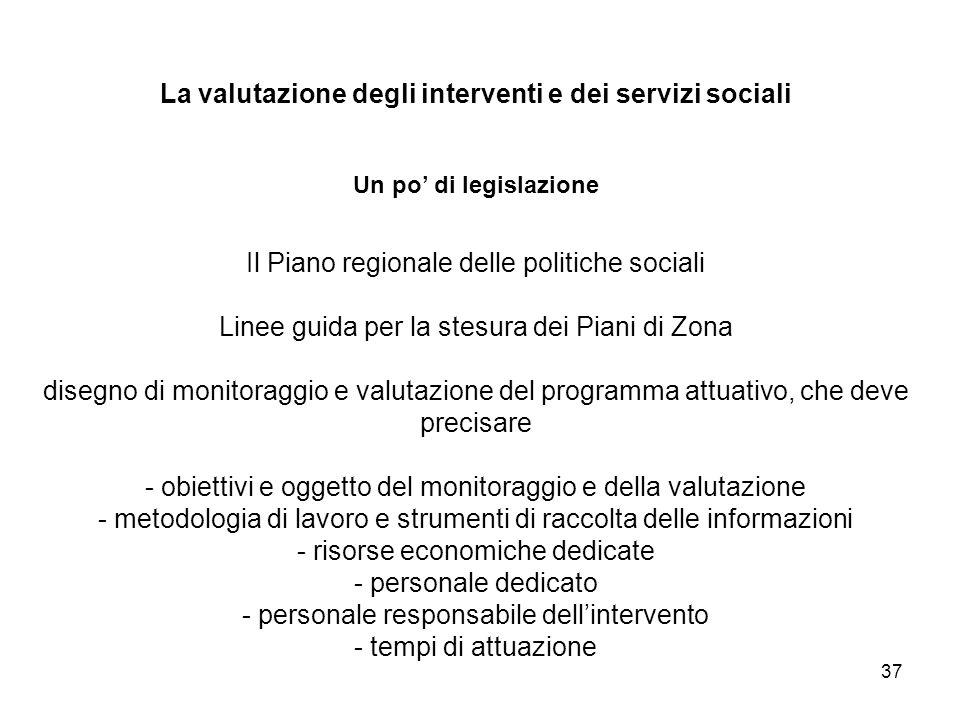 37 La valutazione degli interventi e dei servizi sociali Un po di legislazione Il Piano regionale delle politiche sociali Linee guida per la stesura d