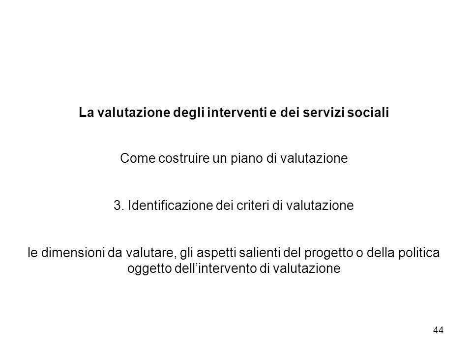 44 La valutazione degli interventi e dei servizi sociali Come costruire un piano di valutazione 3. Identificazione dei criteri di valutazione le dimen