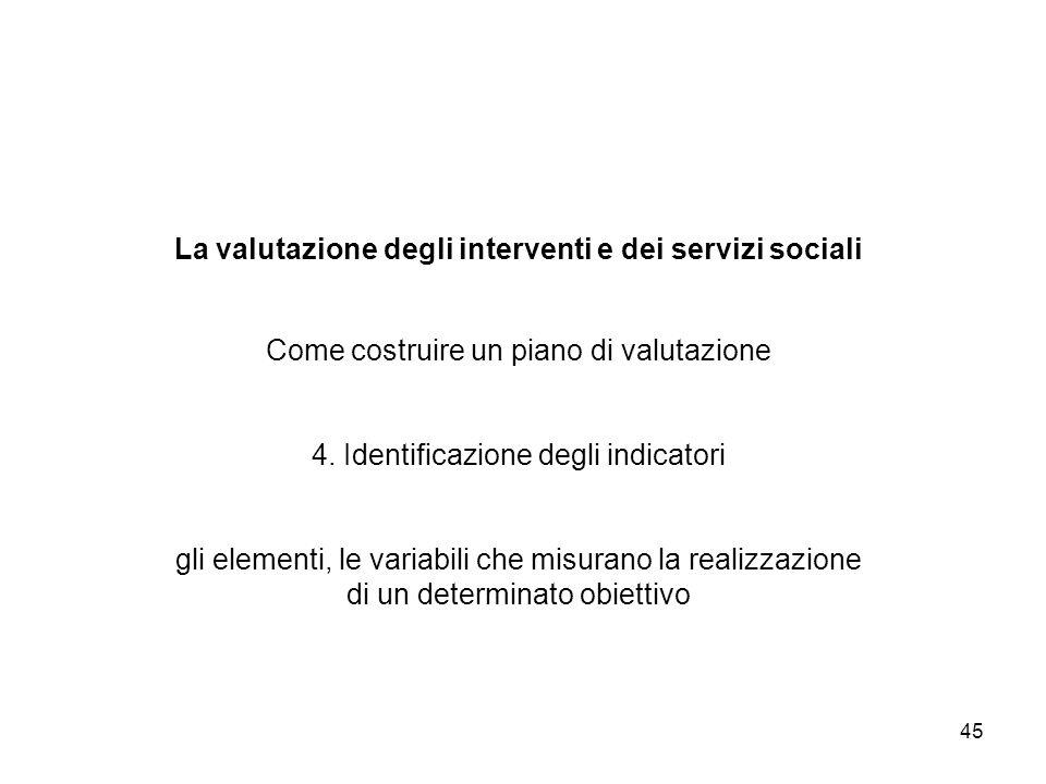 45 La valutazione degli interventi e dei servizi sociali Come costruire un piano di valutazione 4. Identificazione degli indicatori gli elementi, le v