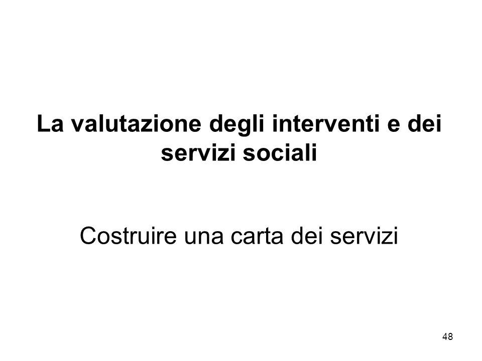 48 La valutazione degli interventi e dei servizi sociali Costruire una carta dei servizi