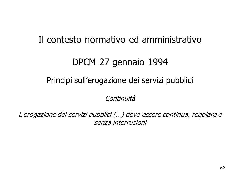 53 Il contesto normativo ed amministrativo DPCM 27 gennaio 1994 Principi sullerogazione dei servizi pubblici Continuità Lerogazione dei servizi pubbli