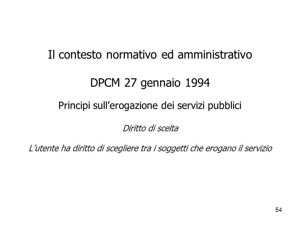 54 Il contesto normativo ed amministrativo DPCM 27 gennaio 1994 Principi sullerogazione dei servizi pubblici Diritto di scelta Lutente ha diritto di s