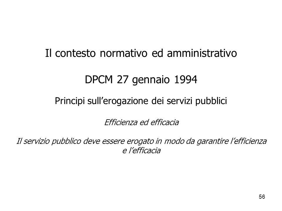56 Il contesto normativo ed amministrativo DPCM 27 gennaio 1994 Principi sullerogazione dei servizi pubblici Efficienza ed efficacia Il servizio pubbl