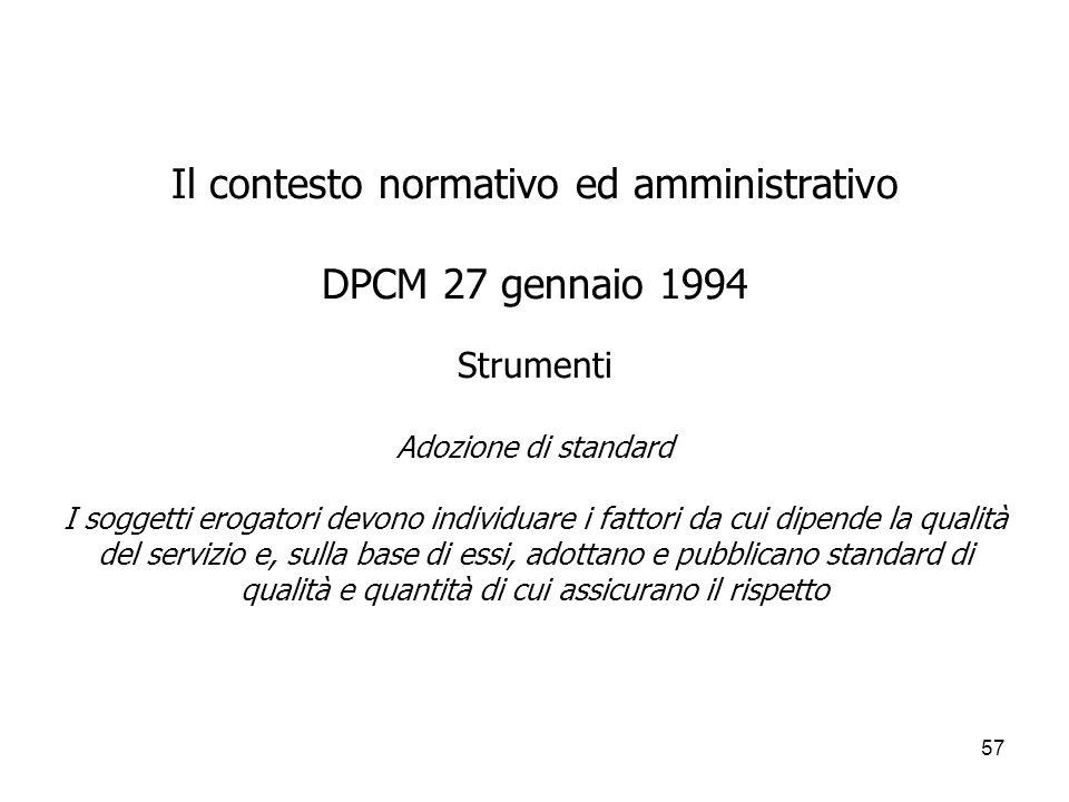 57 Il contesto normativo ed amministrativo DPCM 27 gennaio 1994 Strumenti Adozione di standard I soggetti erogatori devono individuare i fattori da cu