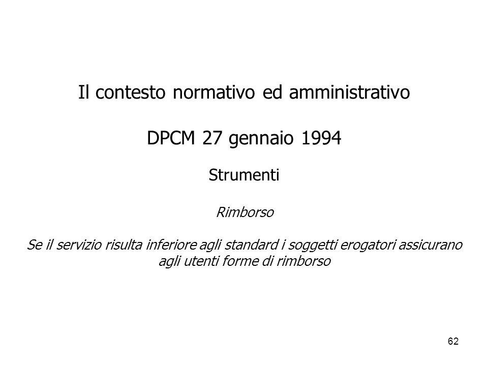 62 Il contesto normativo ed amministrativo DPCM 27 gennaio 1994 Strumenti Rimborso Se il servizio risulta inferiore agli standard i soggetti erogatori