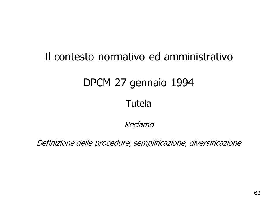 63 Il contesto normativo ed amministrativo DPCM 27 gennaio 1994 Tutela Reclamo Definizione delle procedure, semplificazione, diversificazione