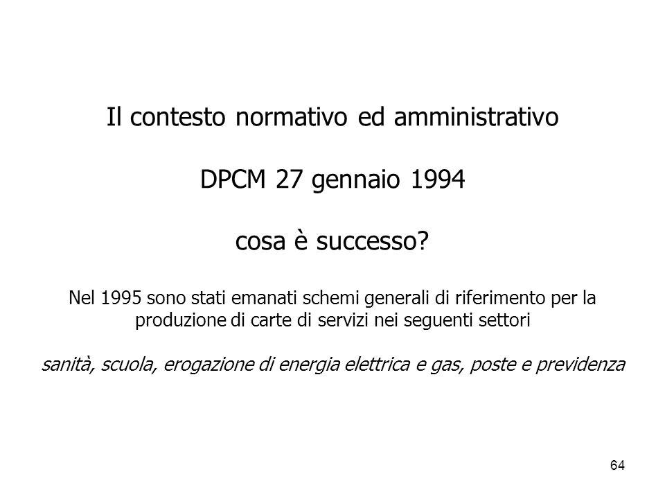 64 Il contesto normativo ed amministrativo DPCM 27 gennaio 1994 cosa è successo? Nel 1995 sono stati emanati schemi generali di riferimento per la pro
