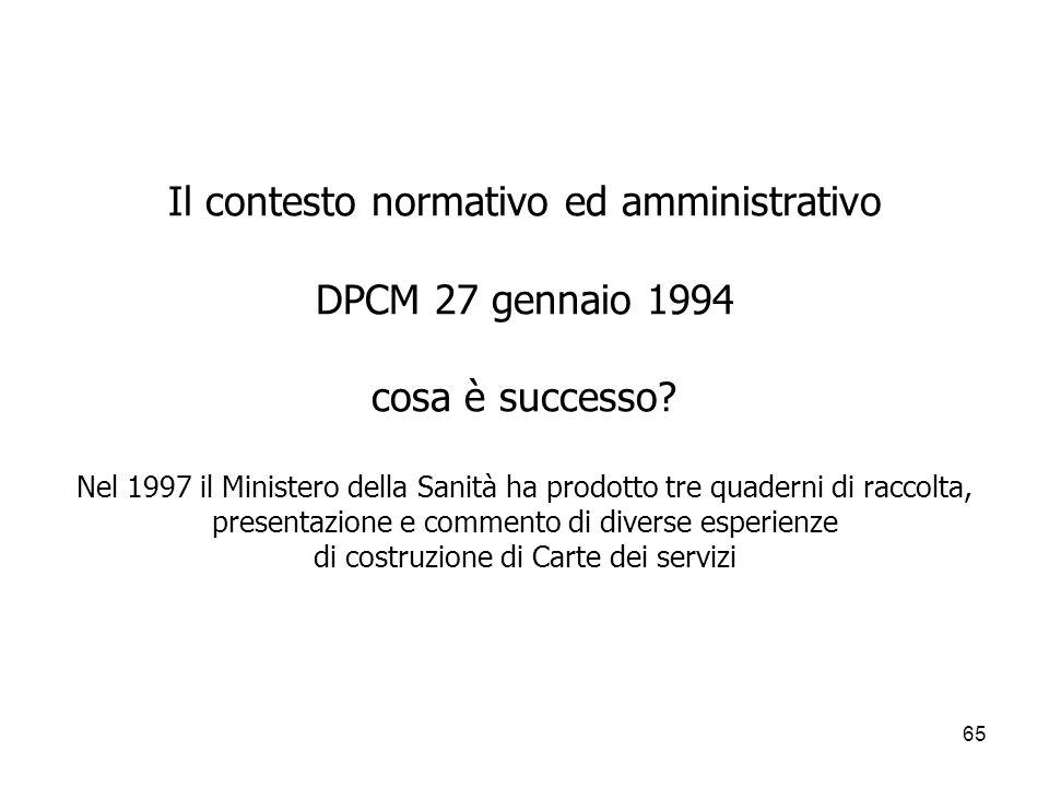 65 Il contesto normativo ed amministrativo DPCM 27 gennaio 1994 cosa è successo? Nel 1997 il Ministero della Sanità ha prodotto tre quaderni di raccol