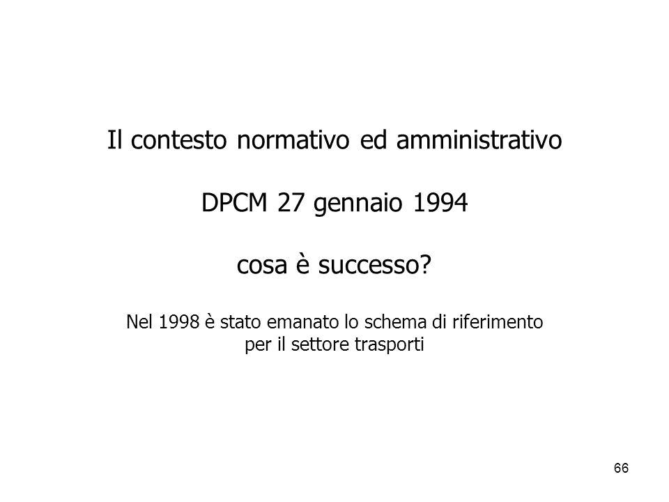 66 Il contesto normativo ed amministrativo DPCM 27 gennaio 1994 cosa è successo? Nel 1998 è stato emanato lo schema di riferimento per il settore tras