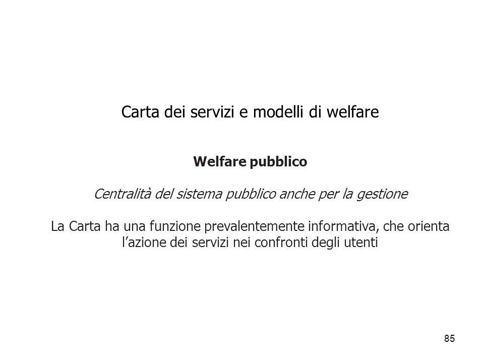 85 Carta dei servizi e modelli di welfare Welfare pubblico Centralità del sistema pubblico anche per la gestione La Carta ha una funzione prevalenteme