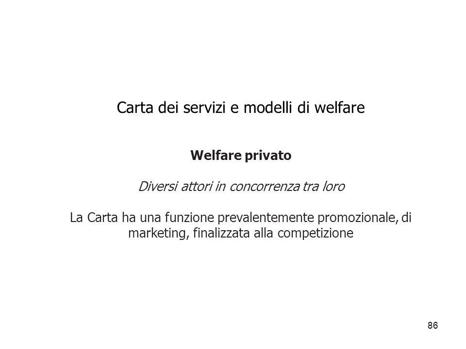 86 Carta dei servizi e modelli di welfare Welfare privato Diversi attori in concorrenza tra loro La Carta ha una funzione prevalentemente promozionale