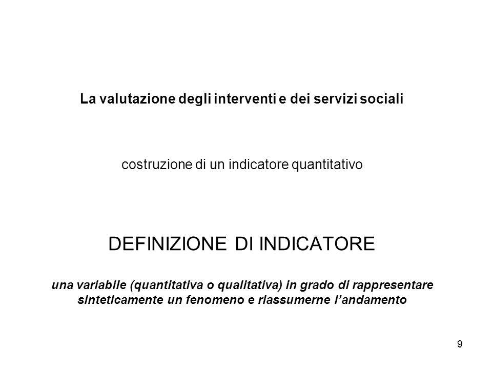 9 La valutazione degli interventi e dei servizi sociali costruzione di un indicatore quantitativo DEFINIZIONE DI INDICATORE una variabile (quantitativ