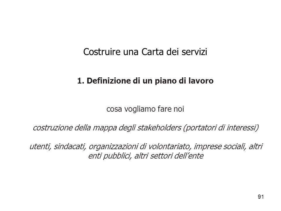91 Costruire una Carta dei servizi 1. Definizione di un piano di lavoro cosa vogliamo fare noi costruzione della mappa degli stakeholders (portatori d