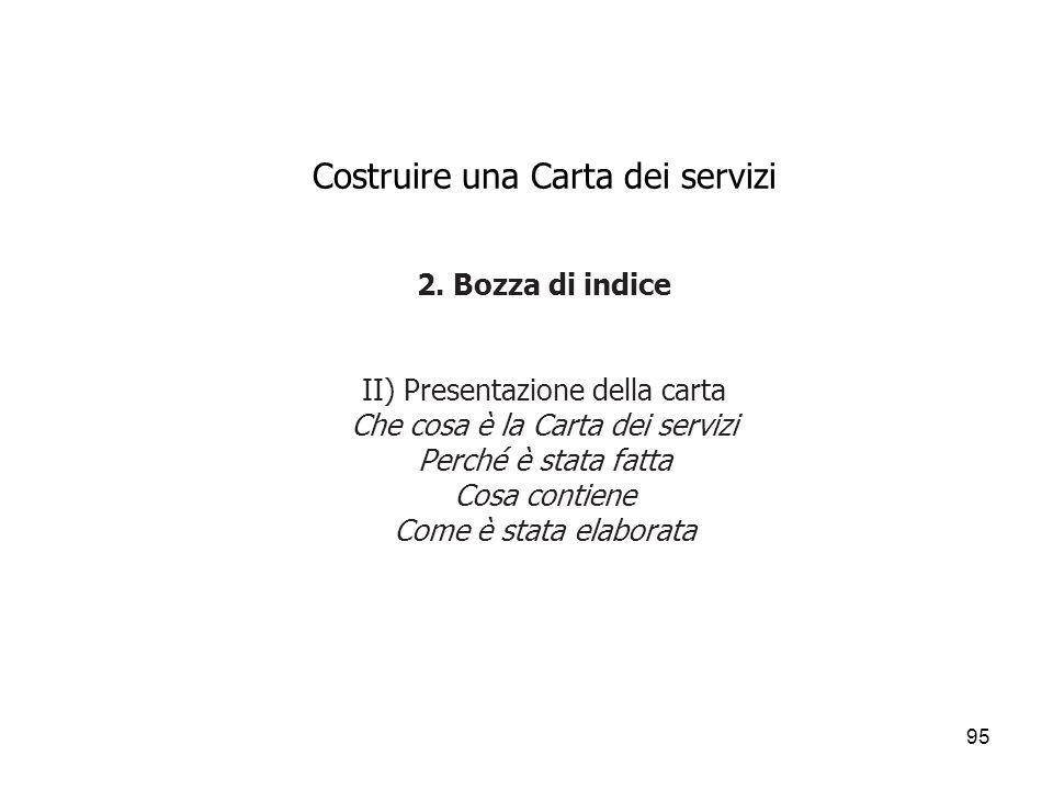95 Costruire una Carta dei servizi 2. Bozza di indice II) Presentazione della carta Che cosa è la Carta dei servizi Perché è stata fatta Cosa contiene