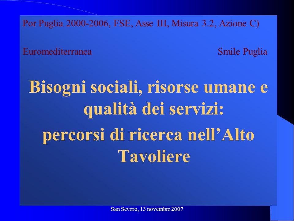 San Severo, 13 novembre 2007 Por Puglia 2000-2006, FSE, Asse III, Misura 3.2, Azione C) Euromediterranea Smile Puglia Bisogni sociali, risorse umane e