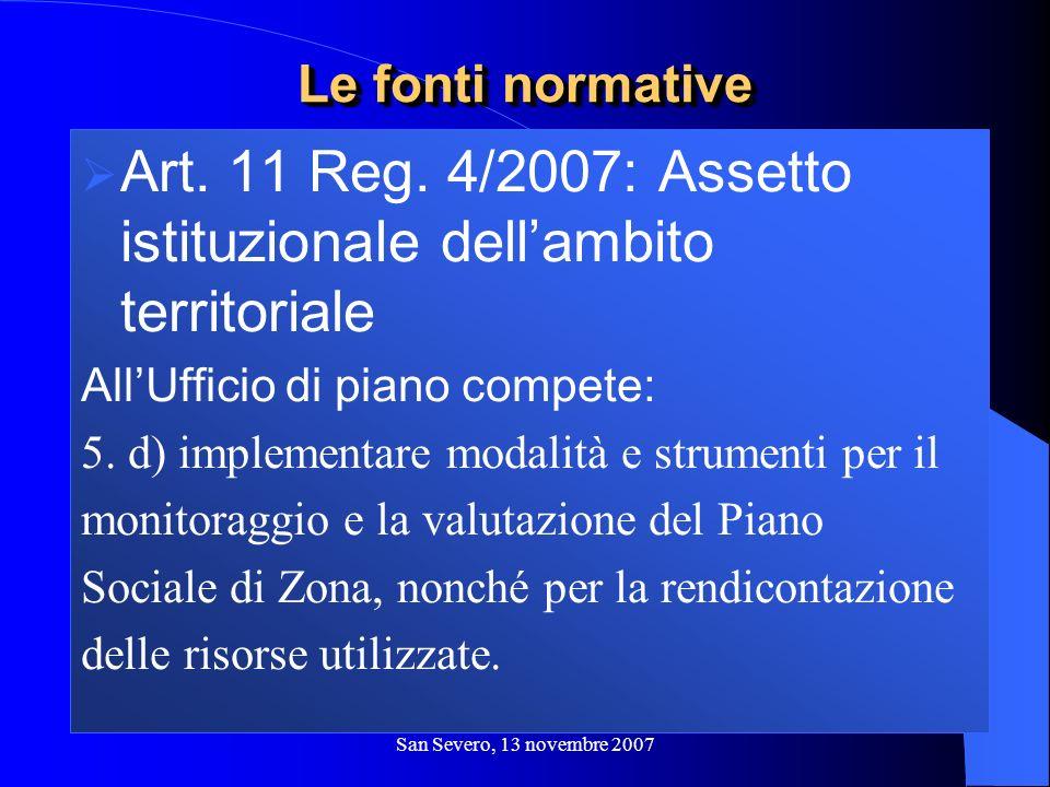 San Severo, 13 novembre 2007 Art. 11 Reg. 4/2007: Assetto istituzionale dellambito territoriale AllUfficio di piano compete: 5. d) implementare modali