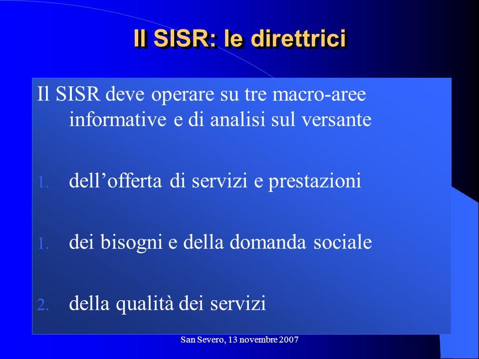 San Severo, 13 novembre 2007 Il SISR deve operare su tre macro-aree informative e di analisi sul versante 1. dellofferta di servizi e prestazioni 1. d