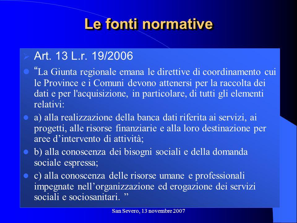 San Severo, 13 novembre 2007 Art. 13 L.r. 19/2006 La Giunta regionale emana le direttive di coordinamento cui le Province e i Comuni devono attenersi