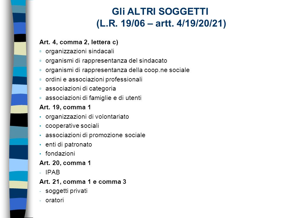 Gli ALTRI SOGGETTI (L.R. 19/06 – artt. 4/19/20/21) Art.