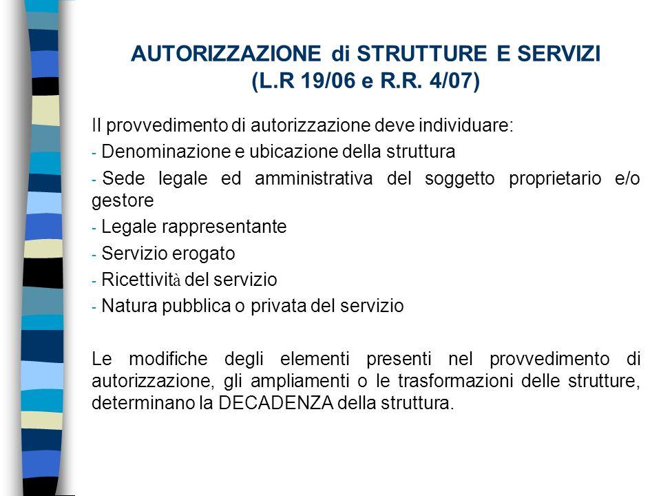 AUTORIZZAZIONE di STRUTTURE E SERVIZI (L.R 19/06 e R.R.