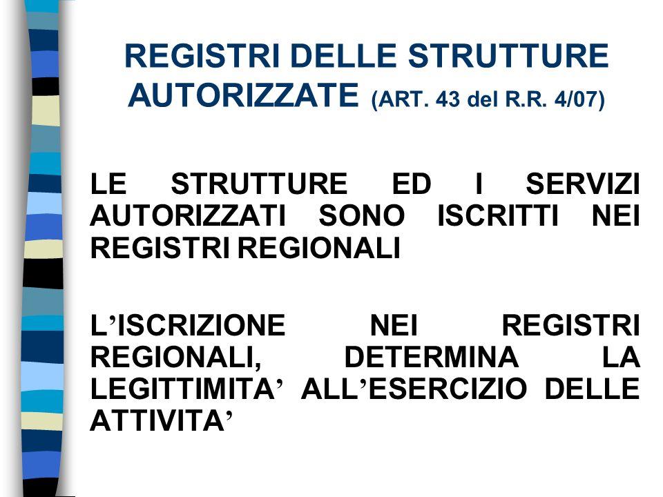 REGISTRI DELLE STRUTTURE AUTORIZZATE (ART. 43 del R.R.
