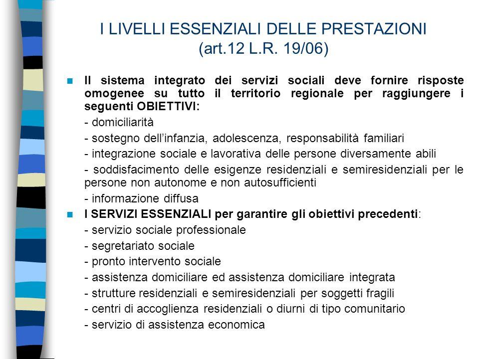 GLI STRUMENTI per LACCESSO AL SISTEMA INTEGRATO DEI SERVIZI (art.3 R.R.