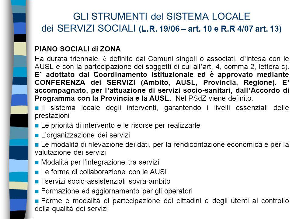 GLI STRUMENTI del SISTEMA LOCALE dei SERVIZI SOCIALI (L.R.