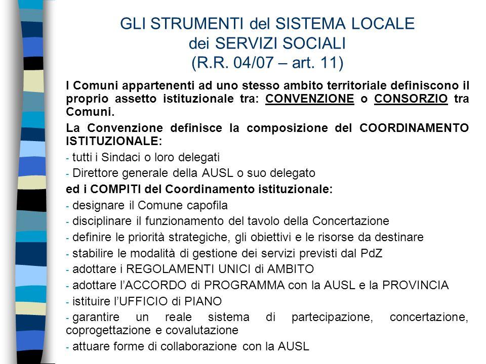 GLI STRUMENTI del SISTEMA LOCALE dei SERVIZI SOCIALI (R.R.