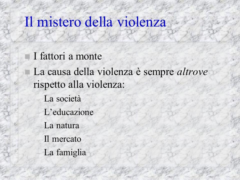 Il mistero della violenza n I fattori a monte n La causa della violenza è sempre altrove rispetto alla violenza: – La società – Leducazione – La natur