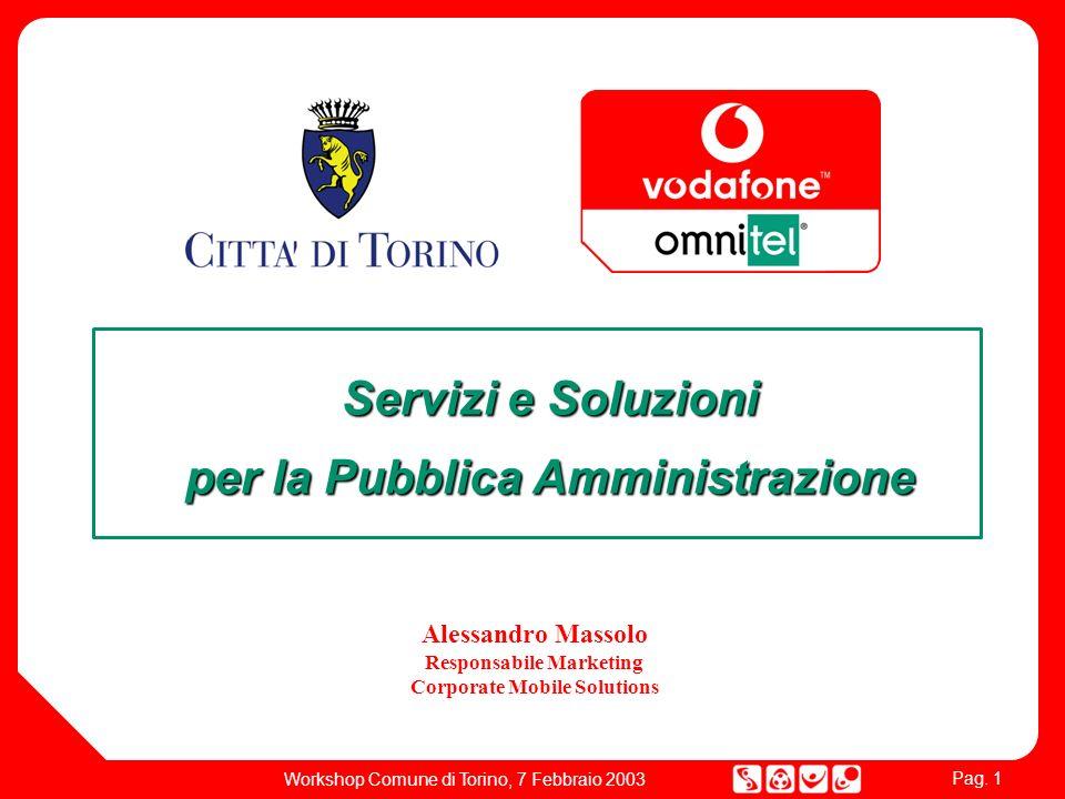 Pag. 1 Workshop Comune di Torino, 7 Febbraio 2003 Servizi e Soluzioni per la Pubblica Amministrazione Alessandro Massolo Responsabile Marketing Corpor